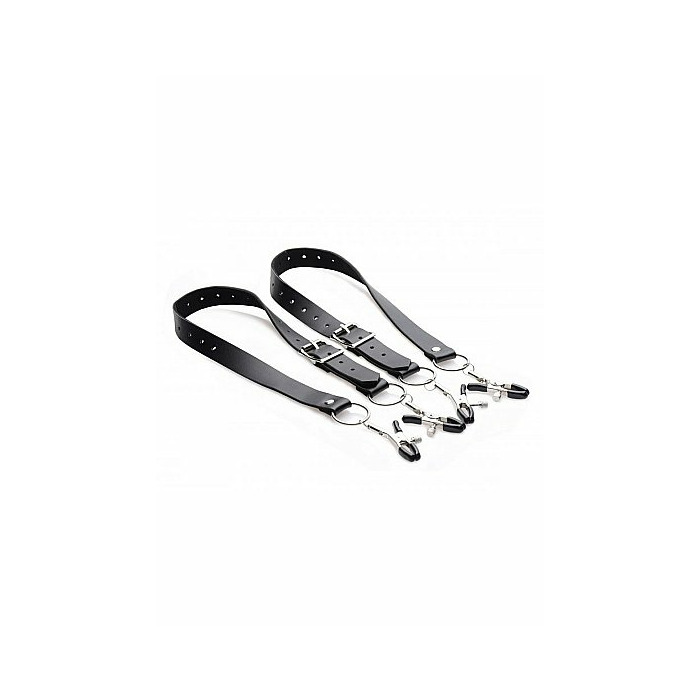 Spread Labia Spreader Straps with Clamps - Black