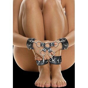 Leather Hand And Legcuffs - Black