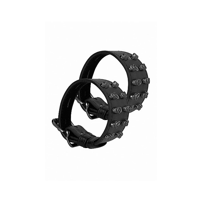Ouch! Skulls and Bones - Handcuffs with Skulls - Black