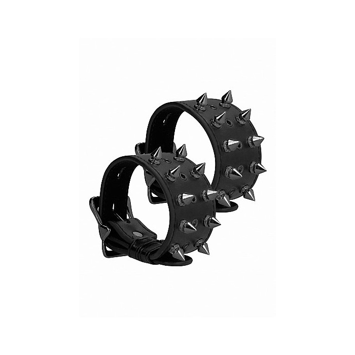 Ouch! Skulls and Bones - Handcuffs with Spikes - Black