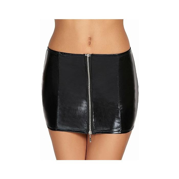CHONE Short Wetlook Zipper Skirt - Black - M