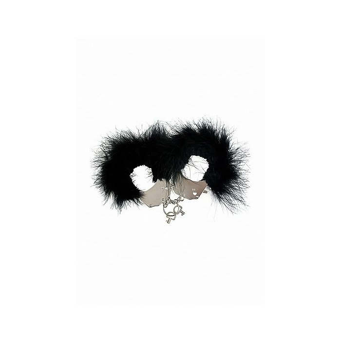 Metal and Feather Handcuffs - Black