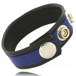 LEATHER BODY COCK AND BALL STRAP WITH SNAPS - BLACK AND BLUE