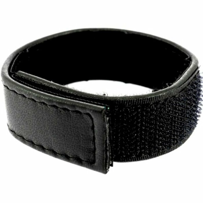 LEATHER BODY  COCK AND BALL STRAP VELCROED ADJUSTABLE - BLACK