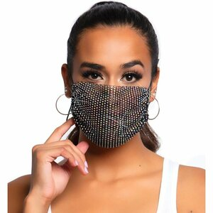 LEG AVENUE HARLOW RHINEST FACE MASK - BLACK