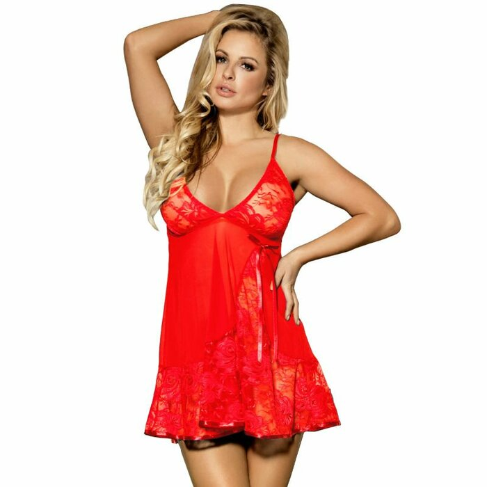SUBBLIME FLORAL LACES BABYDOLL RED S/M