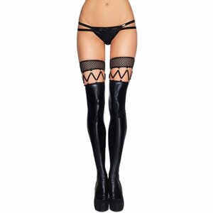 QUEEN LINGERIE FAUX LEATHER STOCKINGS ONE SIZE