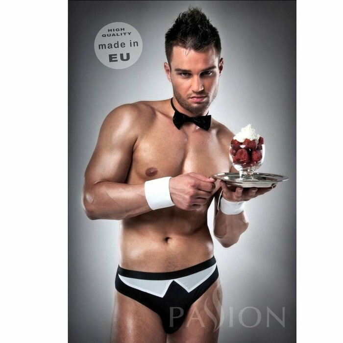 WAITER OUTFIT S BLACK / WHITE  BY PASSION MEN LINGERIE S/M