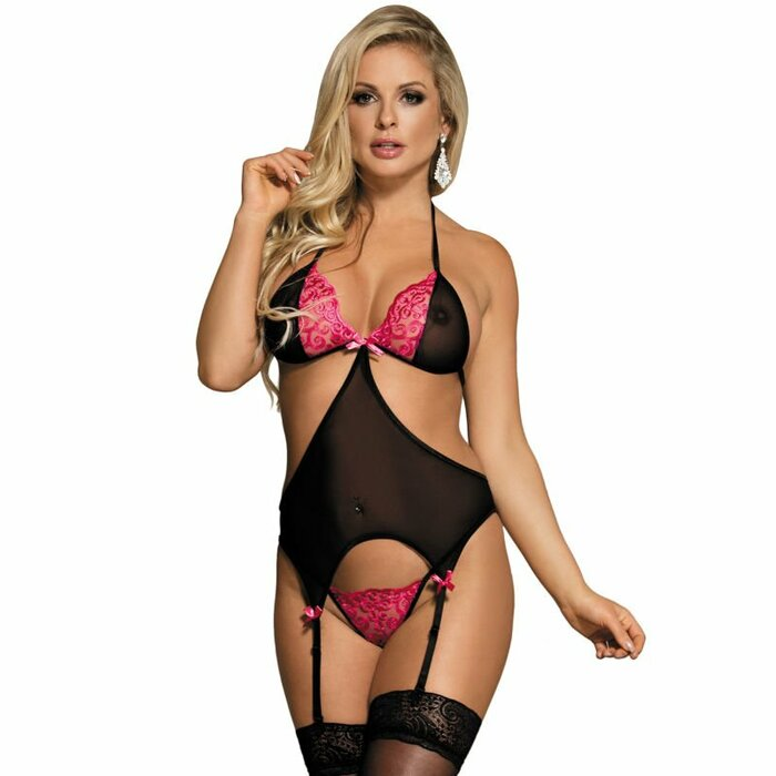SUBBLIME BLACK AND PINK CORSET S/M