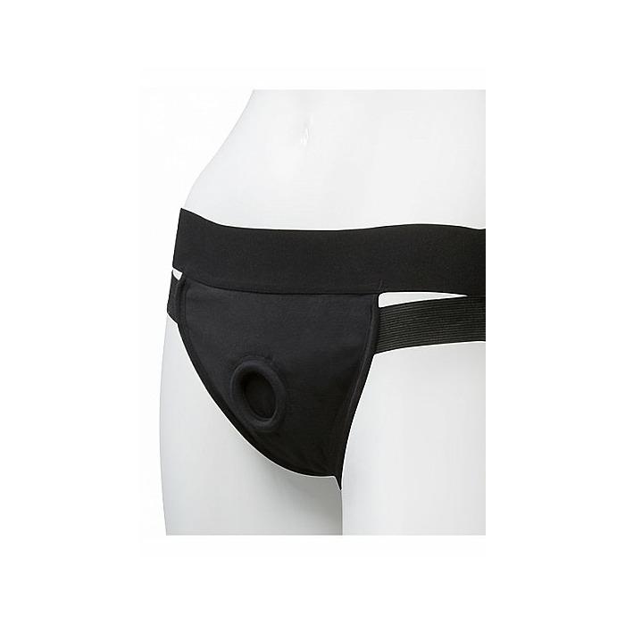 Panty Harness w Plug Dual Strap - S/M - Black